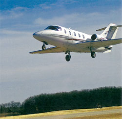 A corporate jet lands at Terrell Municipal Airport