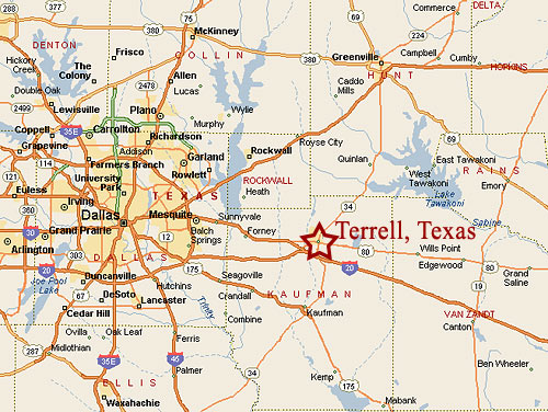 terrell texas municipal airport location map
